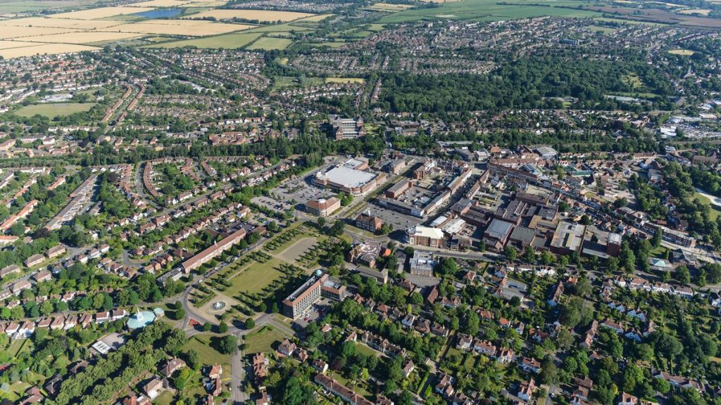 An aerial view of Letchworth Garden City - a victory of planning